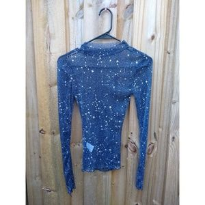 Celestial Constellation Star Mesh Sheer Mock Neck